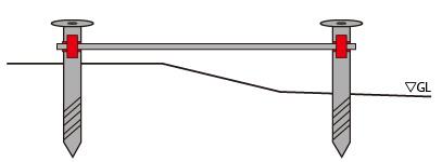 スクリュー杭と単管杭をつなぐクランプ